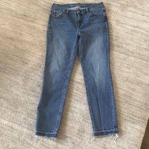 Old Navy boyfriend straight jeans raw hem, 8 Tall